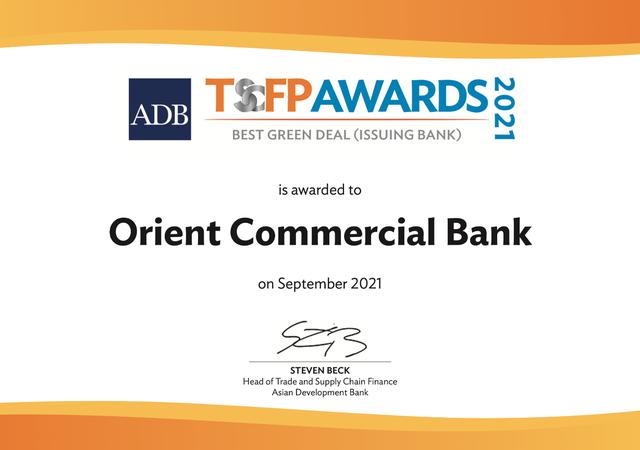 Với việc ưu tiên các hoạt động tín dụng xanh, OCB đã nhận được Giải thưởng Thỏa thuận xanh tốt nhất của AfDB - Ảnh 1.
