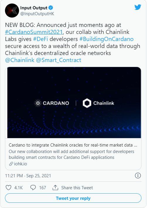 Cardano hợp tác với Chainlink để tích hợp Oracles cho các hợp đồng thông minh nâng cao.