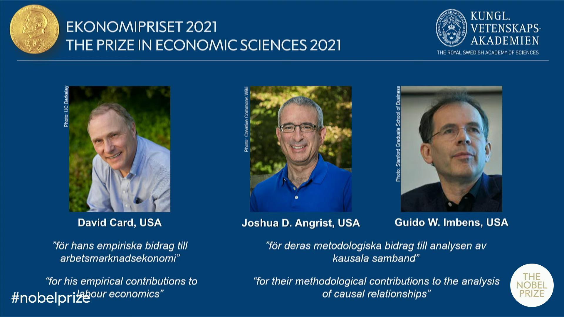 ViMoney - 3 nhà kinh tế học người Mỹ và Canada đạt giải Nobel kinh tế năm 2021