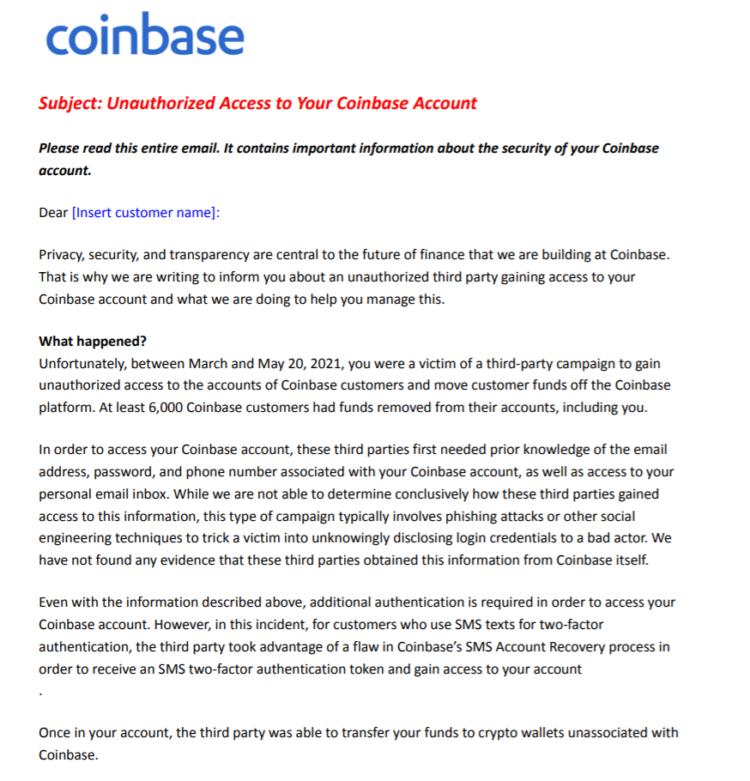 Sàn Coinbase bị hack bởi lỗ hổng MFA, 6.000 tài khoản bị mất cắp tiền  - Email cho khách hàng - hình 1