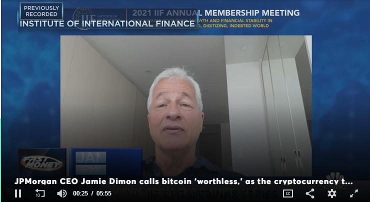 """Ông trùm ngân hàng JP Morgan Chase Jamie Dimon:""""Bitcoin không có giá trị"""""""