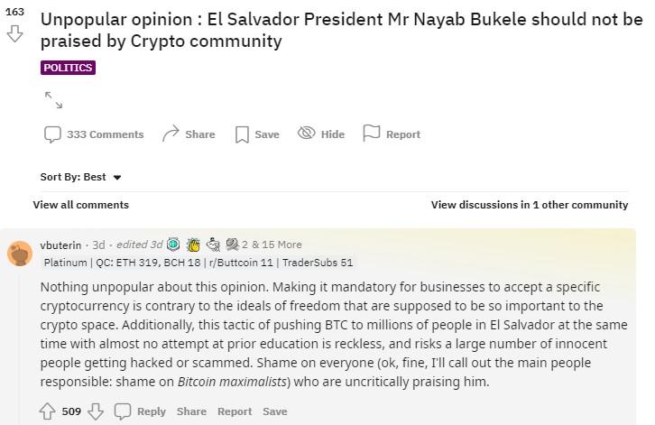 Nhà sáng lập Ethereum Vitalik Buterin chỉ trích Luật Bitcoin của El Salvador