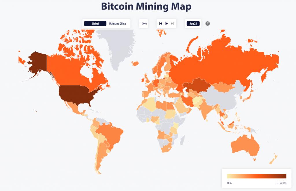 Mỹ soán ngôi Trung Quốc đứng đầu bản đồ hashrate đào Bitcoin