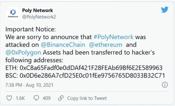 Poly Network đã kêu gọi các thợ đào dừng giao dịch sau khi bị tấn công trong vụ bị tấn công hồi tháng 8/2021